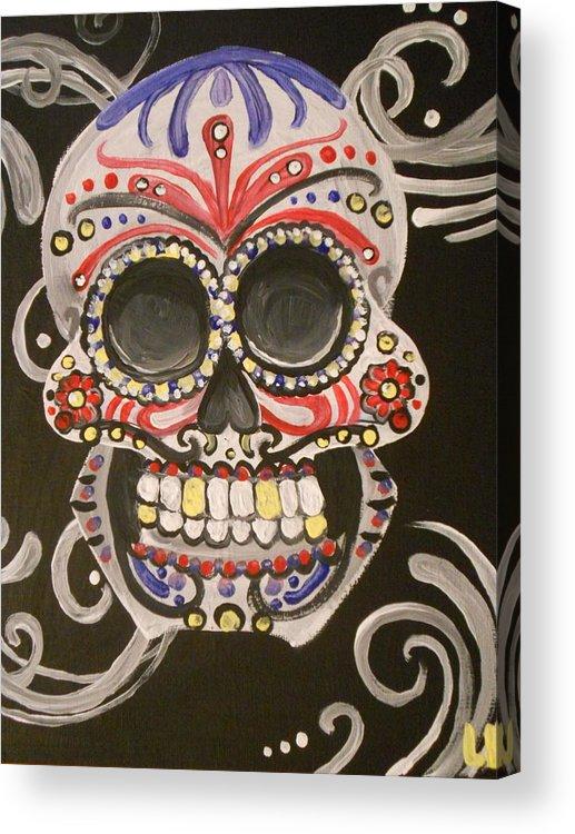 Painted Acrylic Print featuring the painting Sugar Skull by Lisa Leeman