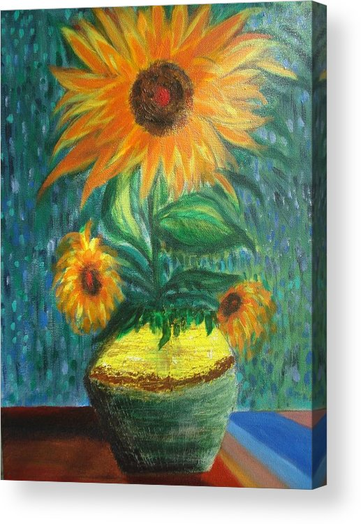Vase Acrylic Print featuring the painting Sunflower In A Vase by Prasenjit Dhar