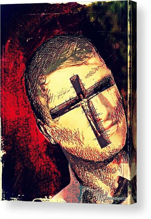 Restlessness Of The Soul Acrylic Print featuring the digital art The Face Is Sowing Fertile Shadow Of The Cross by Paulo Zerbato