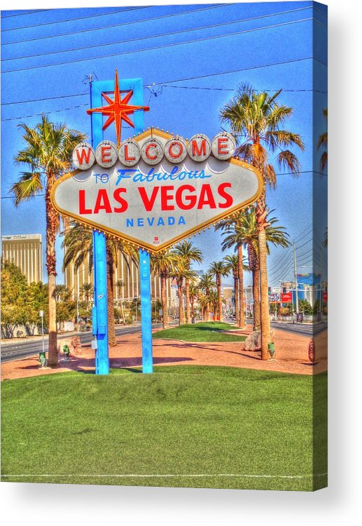 Vegas Acrylic Print featuring the digital art Vegas by Barry R Jones Jr