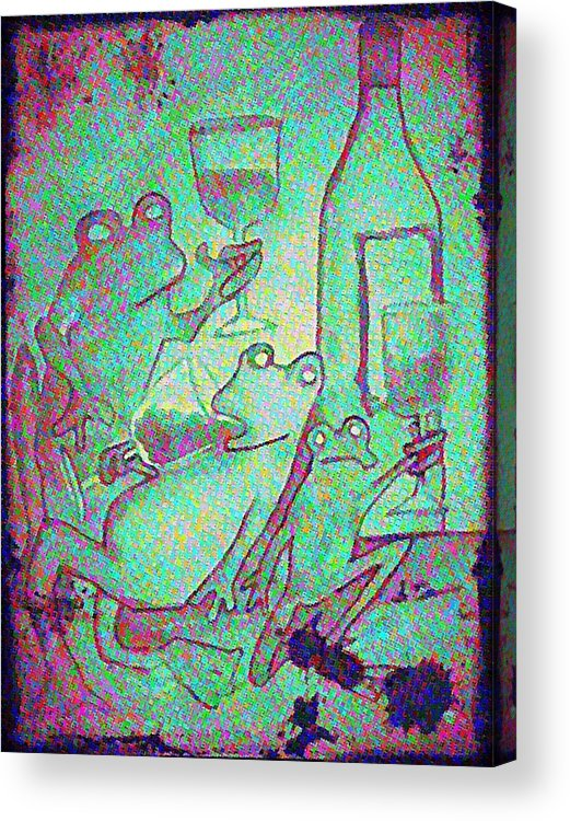 Amphibians Acrylic Print featuring the painting Vintage Green Inebriated Frogs by James Christiansen