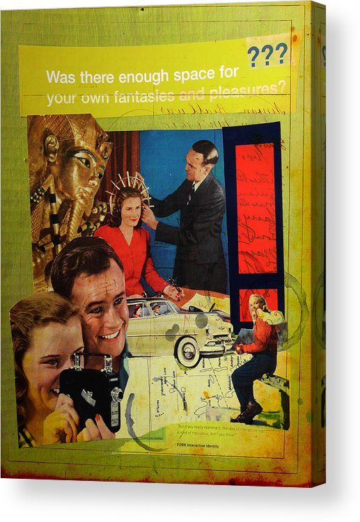 Collage Acrylic Print featuring the mixed media Was There Enough Space... by Adam Kissel