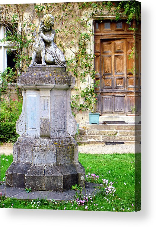 Little Angel Acrylic Print featuring the photograph Little Angel With A Dog In The Montresor Garden In The Loire Valley Fr by Renata Ratajczyk