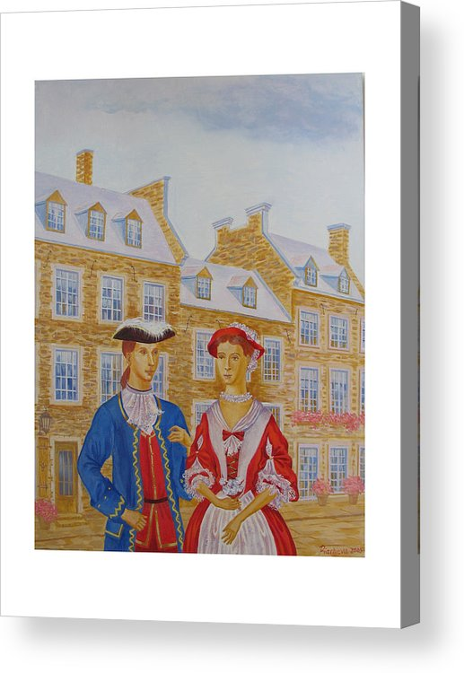 Figures Acrylic Print featuring the painting A Gentlemen With His Lady . by Natalia Piacheva
