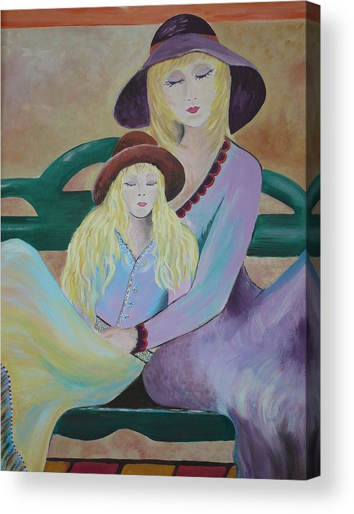 Mother/daughter Acrylic Print featuring the painting Angel Face by Kris Crollard