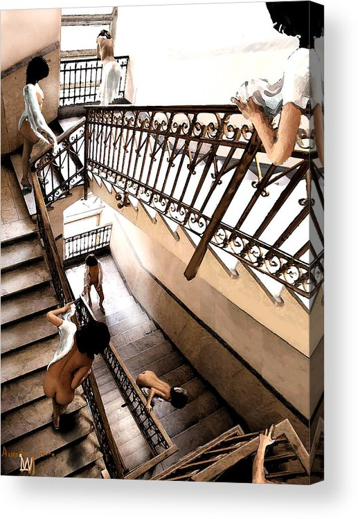 Multible Views Assending Stairs In An Old Building. Acrylic Print featuring the digital art Assending Firure by Leo Malboeuf
