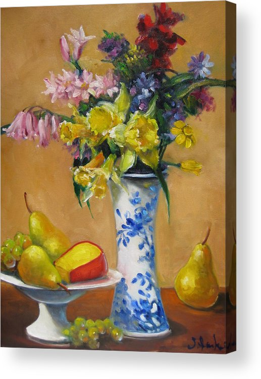 Still Life Acrylic Print featuring the painting Blue And White Vase by Susan Jenkins