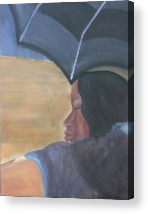 Woman Acrylic Print featuring the painting Dark And Beauty by Katrice Kinlaw