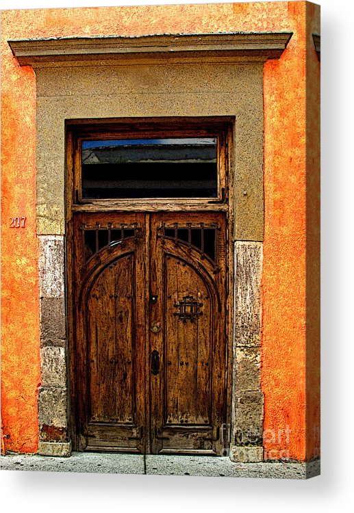 Tlaquepaque Acrylic Print featuring the photograph Door In Terracotta by Mexicolors Art Photography