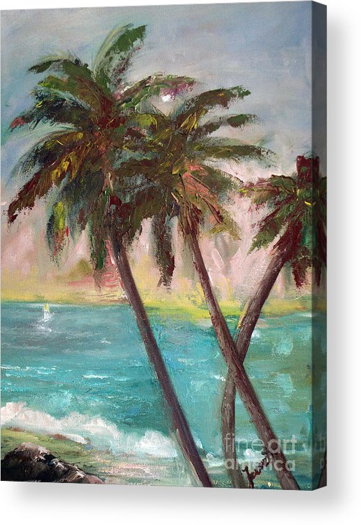 Hawaiian Acrylic Print featuring the painting Hawaiian Palms by Jeanette Fowler