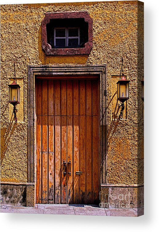 Tlaquepaque Acrylic Print featuring the photograph Lamps And Door by Mexicolors Art Photography