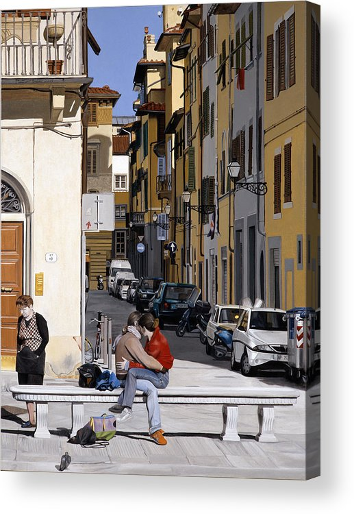 Love Acrylic Print featuring the painting Lovers In Santa Croce by Matthew Bates