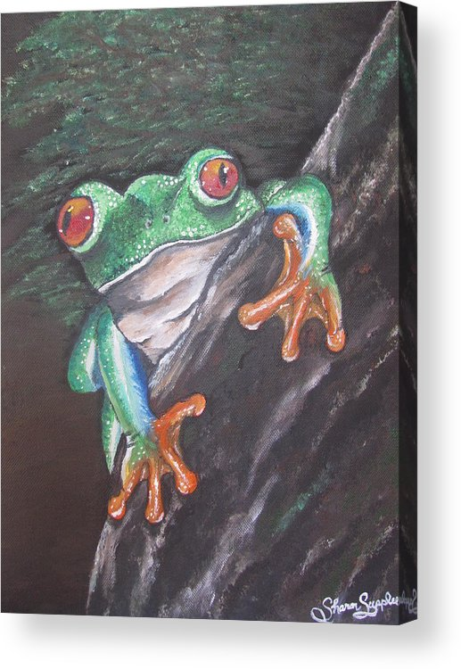 Frog Acrylic Print featuring the painting Lucky by Sharon Supplee
