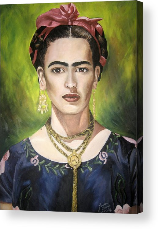 Frida Acrylic Print featuring the painting Mi Bella Frida by Jessica De la Torre
