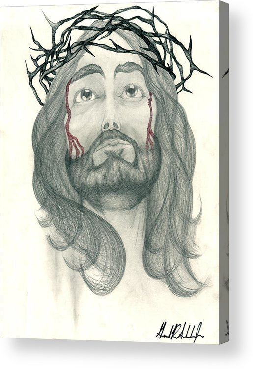 Jesus Acrylic Print featuring the drawing Ode To The Man Upstairs by Gerard Schneider Jr