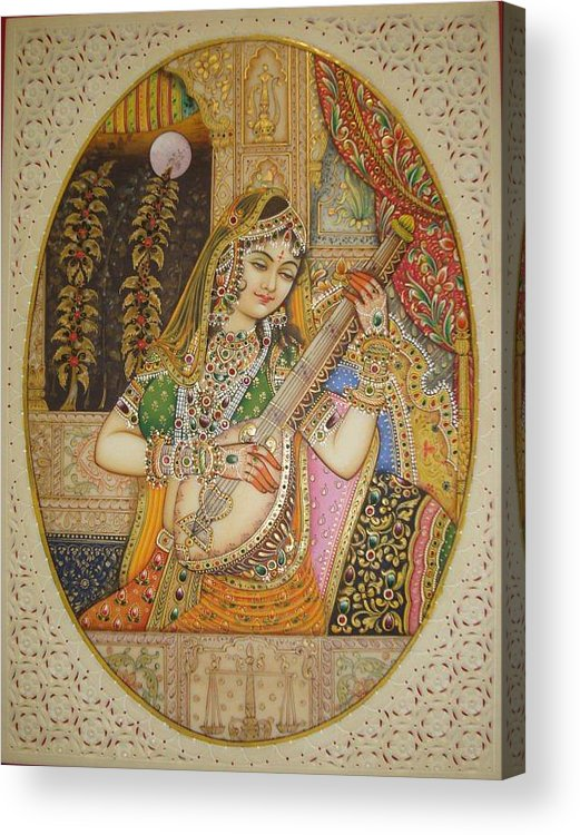 Indian Miniature Acrylic Print featuring the painting Princess by Devendra Sharma