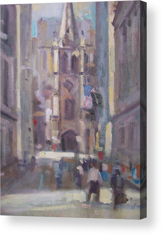 Wall St Looking At Trinity Church. Acrylic Print featuring the painting Wall St by Bart DeCeglie