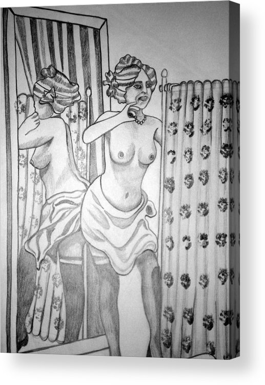 Deco Acrylic Print featuring the drawing 1920s Women Series 6 by Tammera Malicki-Wong