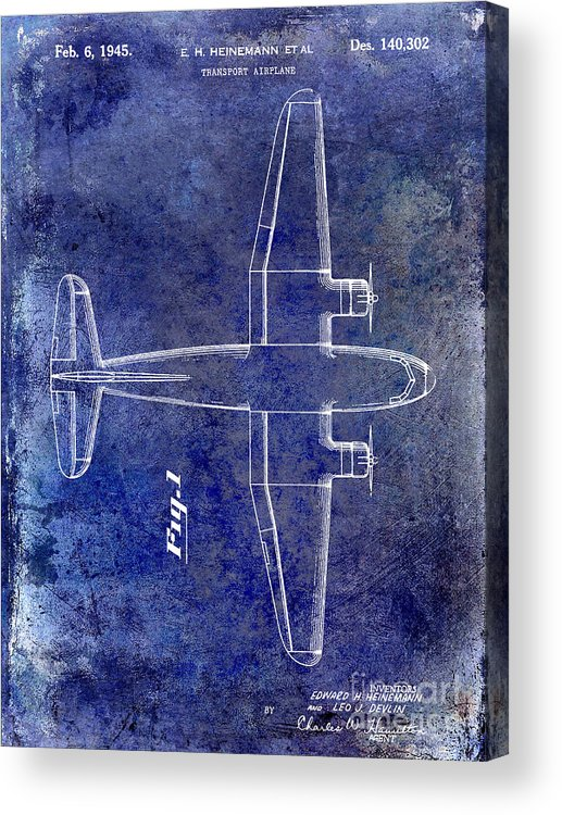 1955 Airplane Patent Acrylic Print featuring the photograph 1945 Transport Airplane Patent Blue by Jon Neidert