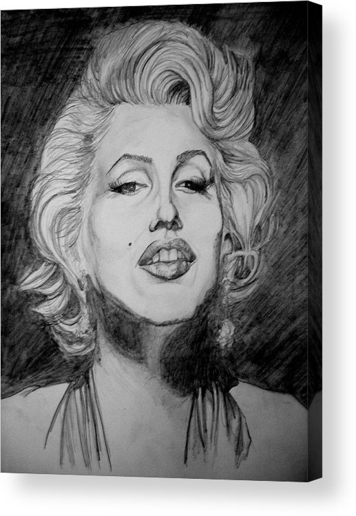 Celeb Portraits Acrylic Print featuring the drawing Marylin Monroe by Sean Leonard