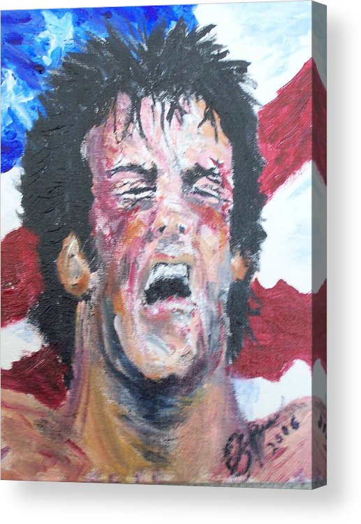 Stallone Acrylic Print featuring the painting Rocky by Francis Bourque
