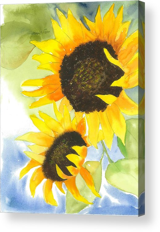 Sunflowers Acrylic Print featuring the painting 2 Sunflowers by Mary Lomma