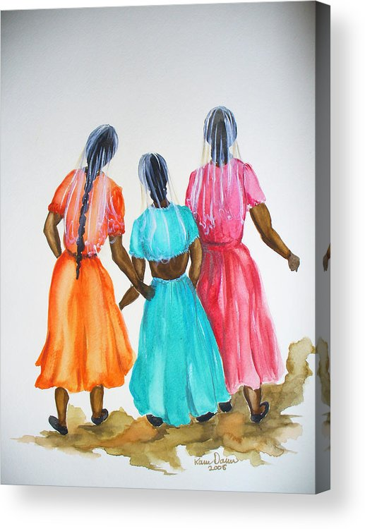 Three Ladies East Indian Acrylic Print featuring the painting 3bff by Karin Dawn Kelshall- Best