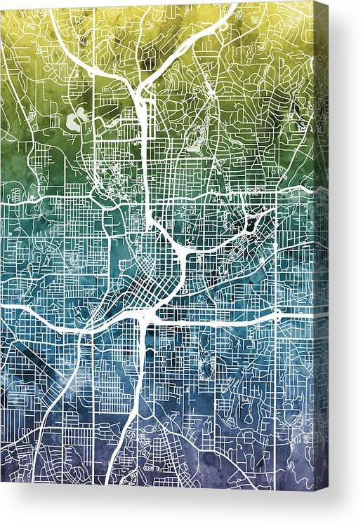 City Map Of Atlanta Georgia.Atlanta Georgia City Map Acrylic Print By Michael Tompsett