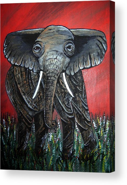 Elephant Acrylic Print featuring the painting A Crimson Kind Of Day by Sharon Supplee