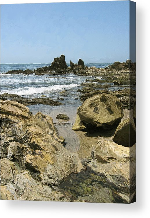 Ocean Acrylic Print featuring the painting A Day At The Shore by Carol Peck