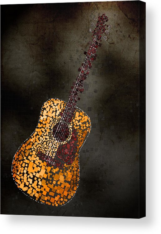Guitar Acrylic Print featuring the mixed media Abstract Guitar by Michael Tompsett