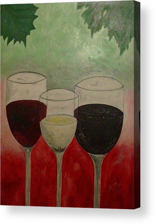 Wines Acrylic Print featuring the painting Abstract Wines by Guillermo Mason
