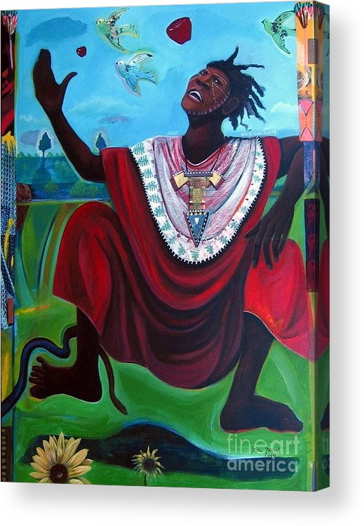 Adam Acrylic Print featuring the painting Adam Who Is Your Daddy by Joyce Owens