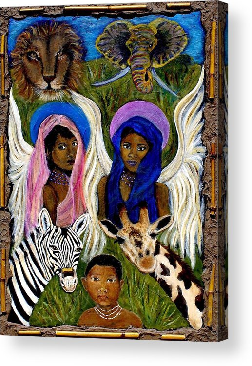 Angels Acrylic Print featuring the painting African Angels by The Art With A Heart By Charlotte Phillips