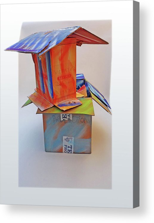 House Acrylic Print featuring the mixed media Aftermath 2 by Charles Stuart