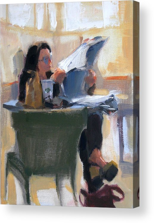 Figurative Acrylic Print featuring the painting Afternoon Coffee Break by Merle Keller