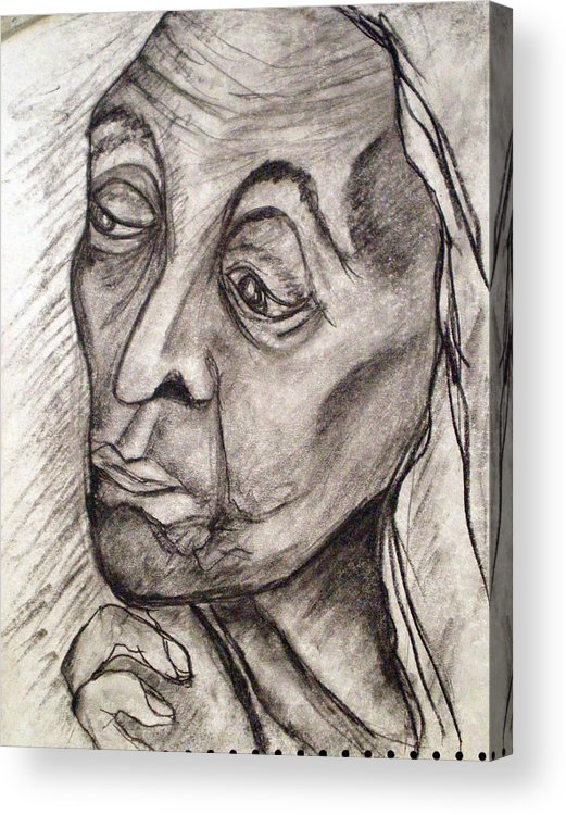 Woman Women Age Wisdom Old Portrait Portraits Acrylic Print featuring the drawing Age And Wisdom by Tammera Malicki-Wong