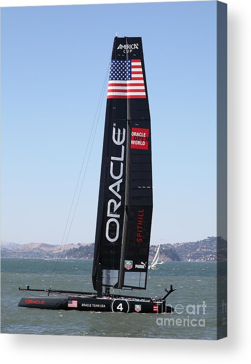 San Francisco Acrylic Print featuring the photograph America's Cup In San Francisco - Oracle Team Usa 4 - 5d18225 by Wingsdomain Art and Photography