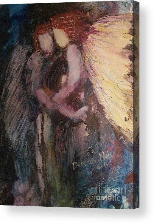Angel Acrylic Print featuring the painting Angels Watching Over Me by Deborah Nell