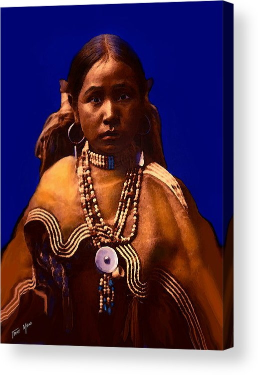 Native American Acrylic Print featuring the mixed media Apache Maiden by Tray Mead