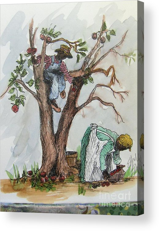 African American Art Acrylic Print featuring the painting Apple Pickers by Ethel Dixon