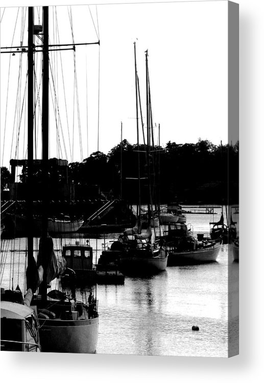 Boats Acrylic Print featuring the digital art At The Docks by Donna Thomas