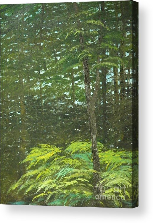 Landscape Acrylic Print featuring the painting At The Forest's Edge by Rhonda Myers