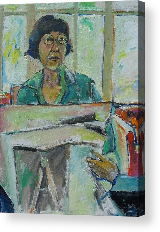 Portrait Acrylic Print featuring the mixed media At The Library by Noredin Morgan