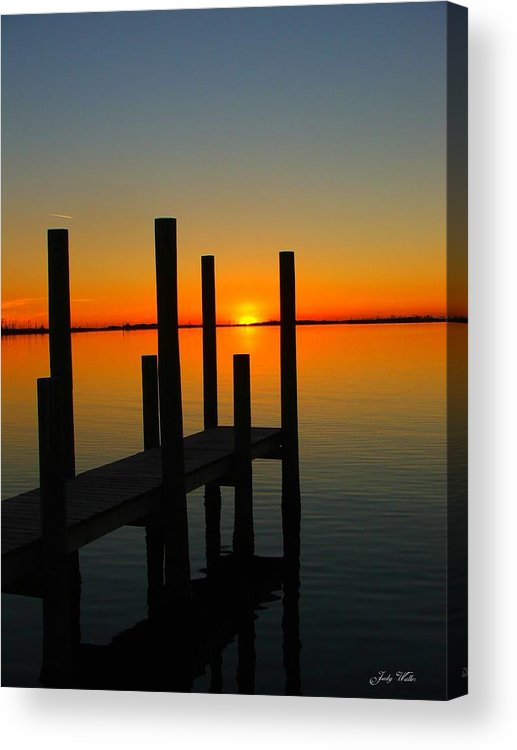 Sunset Acrylic Print featuring the photograph At The Pier by Judy Waller