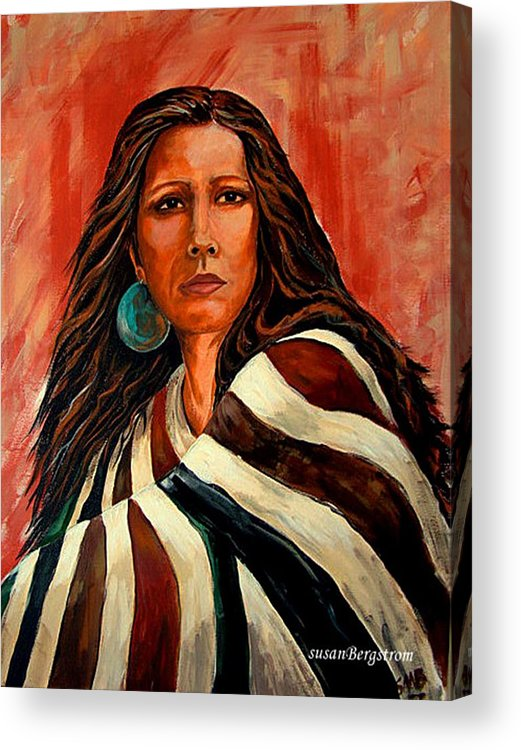 Native American Acrylic Print featuring the painting Autum Wind Wrapped In Tradition by Susan Bergstrom