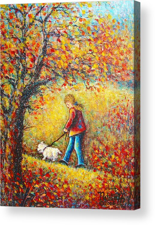 Landscape Acrylic Print featuring the painting Autumn Walk by Natalie Holland