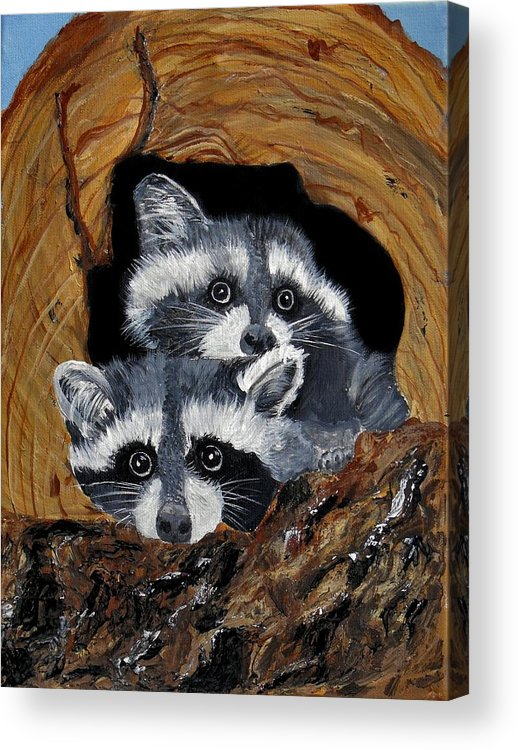 Wildlife Acrylic Print featuring the painting Baby Raccoons by Dia Spriggs