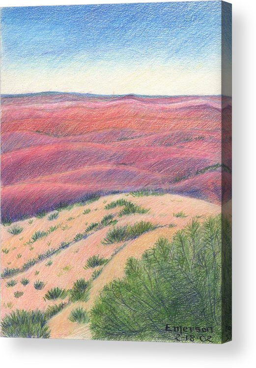 Landscape Acrylic Print featuring the drawing Badlands by Harriet Emerson