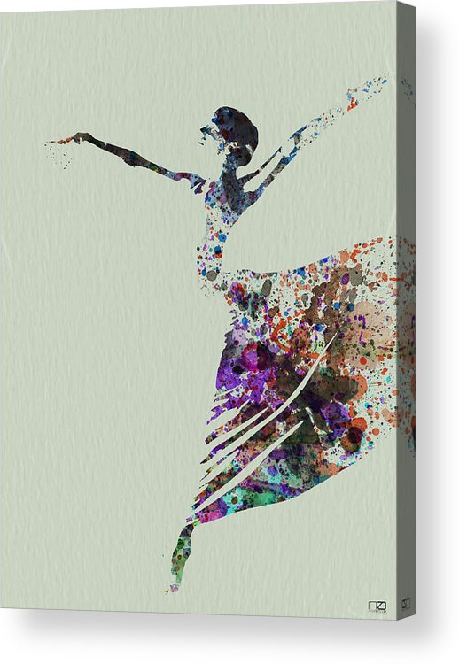 Acrylic Print featuring the painting Ballerina Dancing Watercolor by Naxart Studio